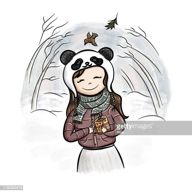 Cute winter cartoon girl with coffee - Illustration