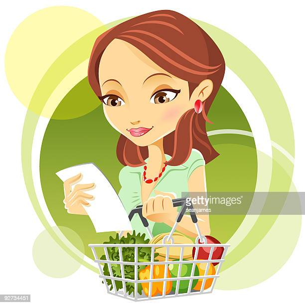 cute young woman grocery shopping - shopping list stock illustrations, clip art, cartoons, & icons