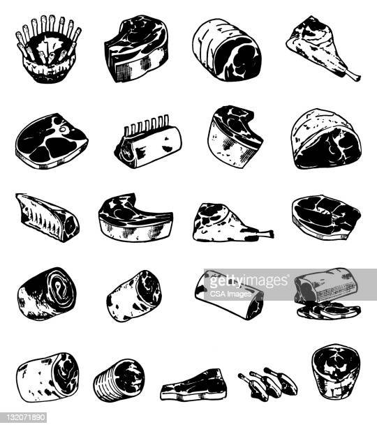 cuts of meat - sirloin steak stock illustrations, clip art, cartoons, & icons