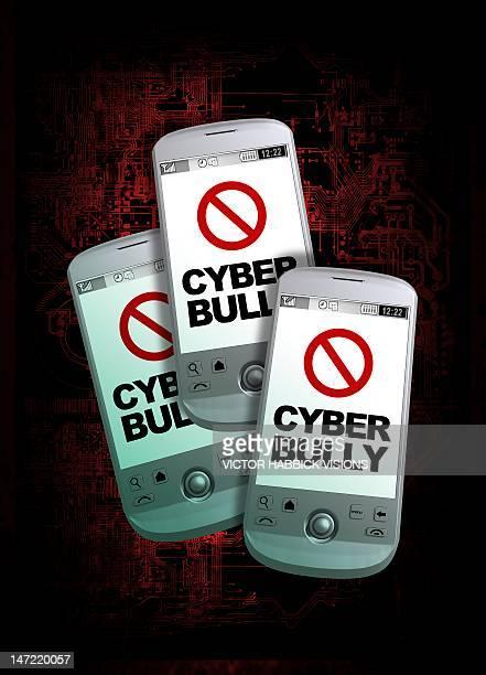 ilustrações de stock, clip art, desenhos animados e ícones de cyber bullying, conceptual artwork - cyberbullying