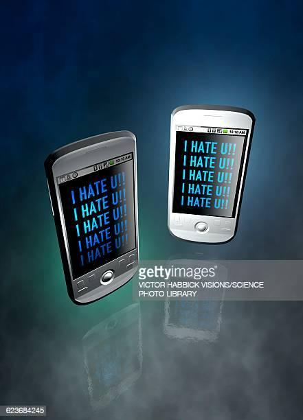 ilustrações de stock, clip art, desenhos animados e ícones de cyber bullying, conceptual illustration - cyberbullying