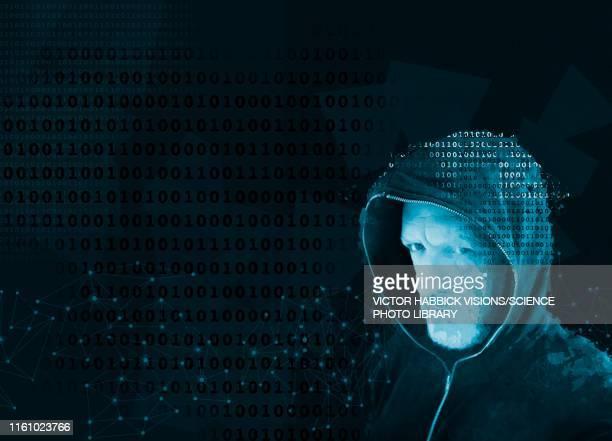 cyber hacker, illustration - headshot stock illustrations