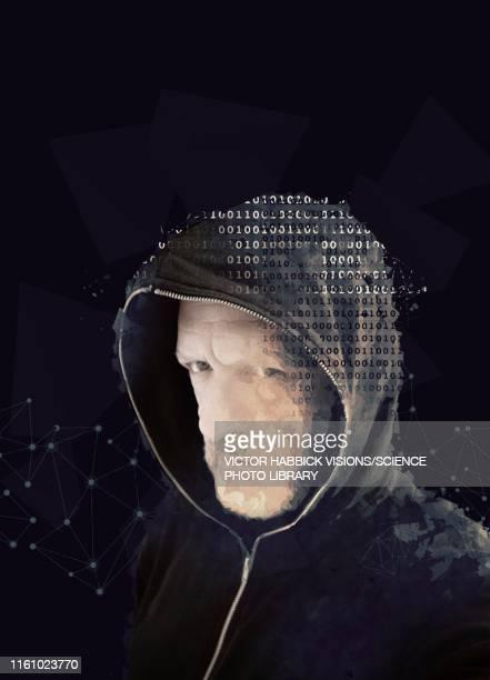 cyber hacker, illustration - hooded top stock illustrations