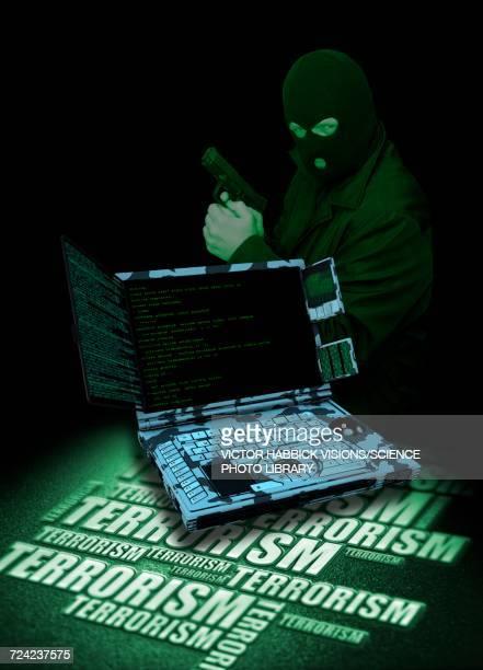cyber terrorism - terrorism stock illustrations