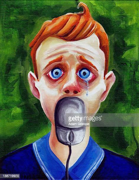 ilustrações de stock, clip art, desenhos animados e ícones de cyberbullying image of a boy with a computer mouse in his mouth - cyberbullying