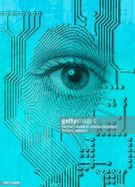 cyborg eye - artificial intelligence stock illustrations