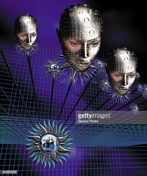 cyborg heads and flowers against grid - androgynous stock illustrations, clip art, cartoons, & icons