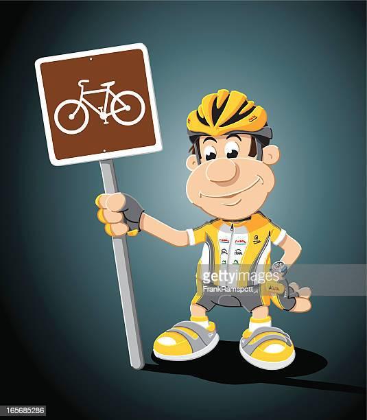 cyclist cartoon man cycling traffic sign - bike helmet stock illustrations, clip art, cartoons, & icons