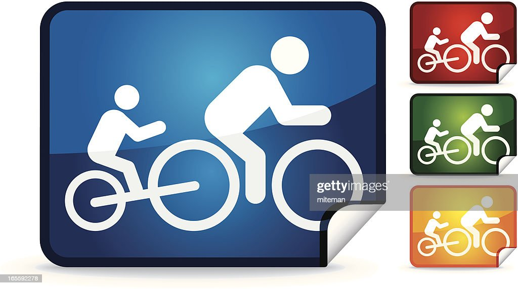 Cyclist with Child | Sticker Collection : stock illustration