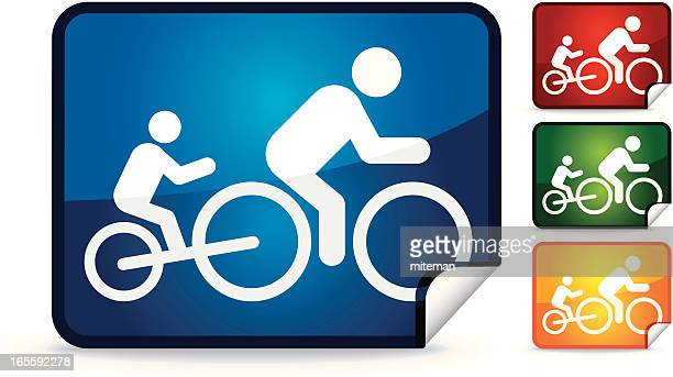 cyclist with child | sticker collection - family cycling stock illustrations, clip art, cartoons, & icons