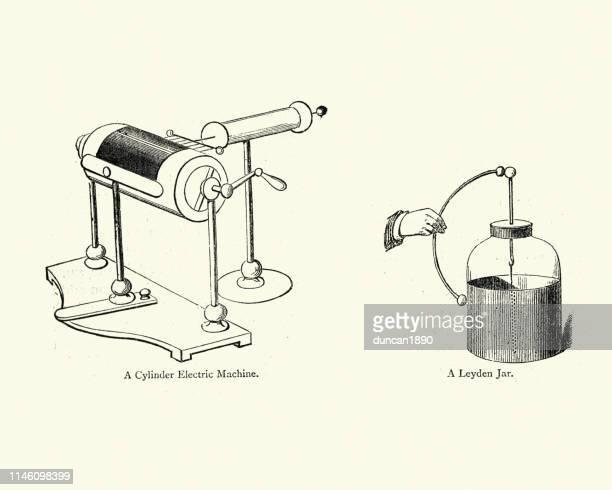 シリンダー電気機械およびライデン瓶 - ライデン点のイラスト素材/クリップアート素材/マンガ素材/アイコン素材