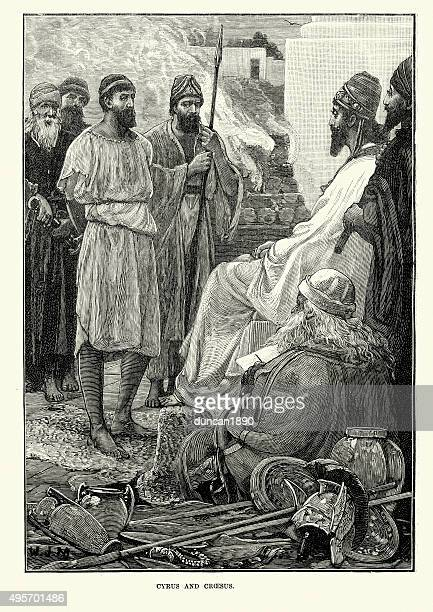 cyrus the great and croesus - herodotus stock illustrations