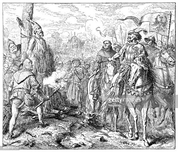 Czech religious leader Jan Hus is executed, burnt at the stake for heresy