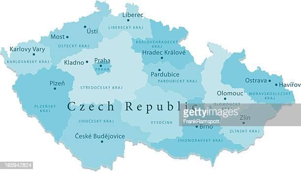 czech republic vector map regions isolated - czech republic stock illustrations