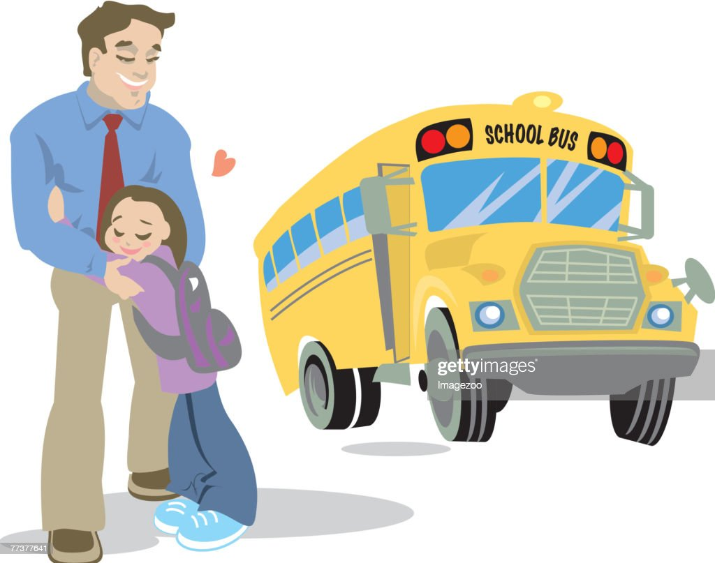 dad and child waiting for the schoolbus : stock illustration