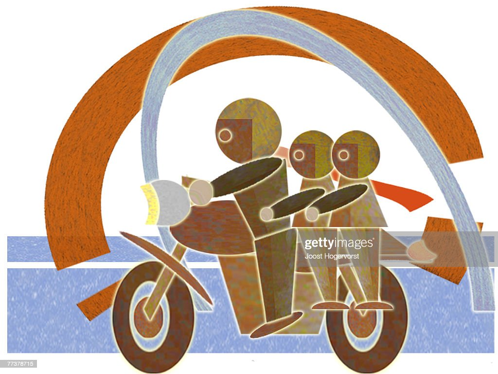A dad with two kids on motorbike : Illustration