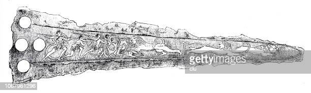 dagger blade from  mycenae  with representation of a hunt - mycenae stock illustrations