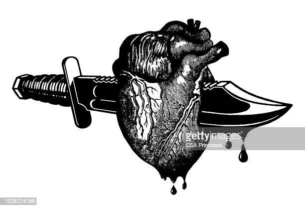 dagger through heart - human heart beating stock illustrations