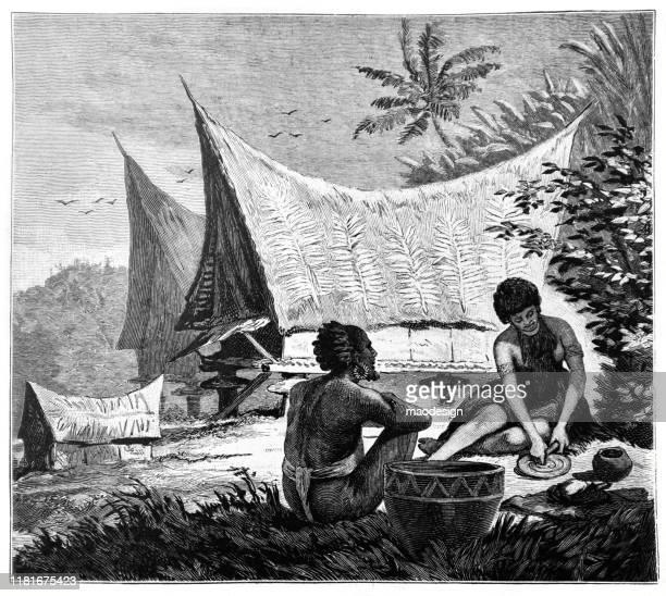 ilustrações, clipart, desenhos animados e ícones de vida quotidiana dos nativos africanos - 1887