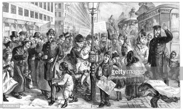 Daily life on Broadway New York Manhattan United States 1875