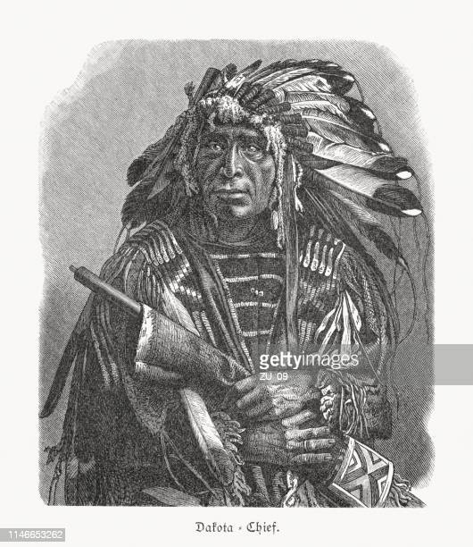 dakota chief, wood engraving, published in 1897 - sioux culture stock illustrations
