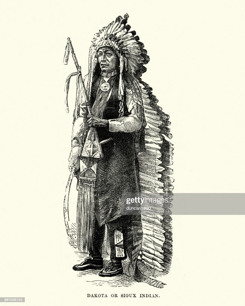 Dakota, Sioux, Native American, in Headress, 19th Century : stock illustration