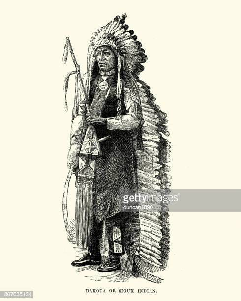 dakota, sioux, native american, in headress, 19th century - indigenous north american culture stock illustrations, clip art, cartoons, & icons