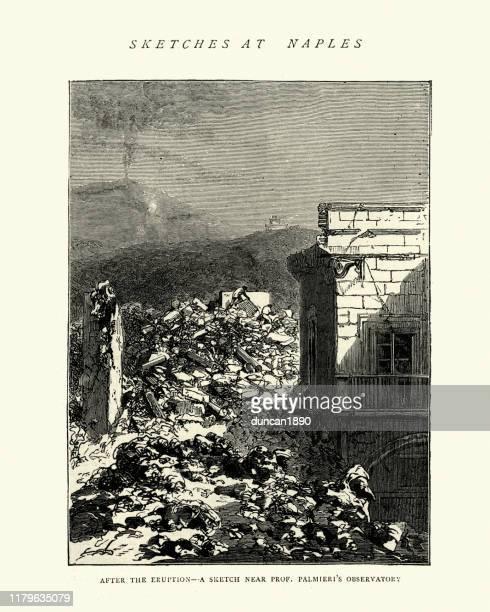 damage in naples after eruption of mount vesuvius, 1872 - mt vesuvius stock illustrations, clip art, cartoons, & icons