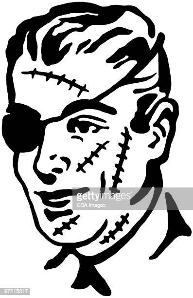 damaged face - one young man only stock illustrations