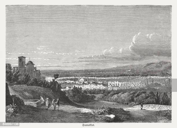 damascus, capital of syria, wood engraving, published in 1886 - damascus stock illustrations