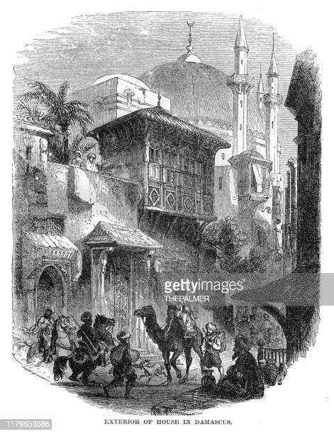 damascus city engraving 1868 - aleppo stock illustrations