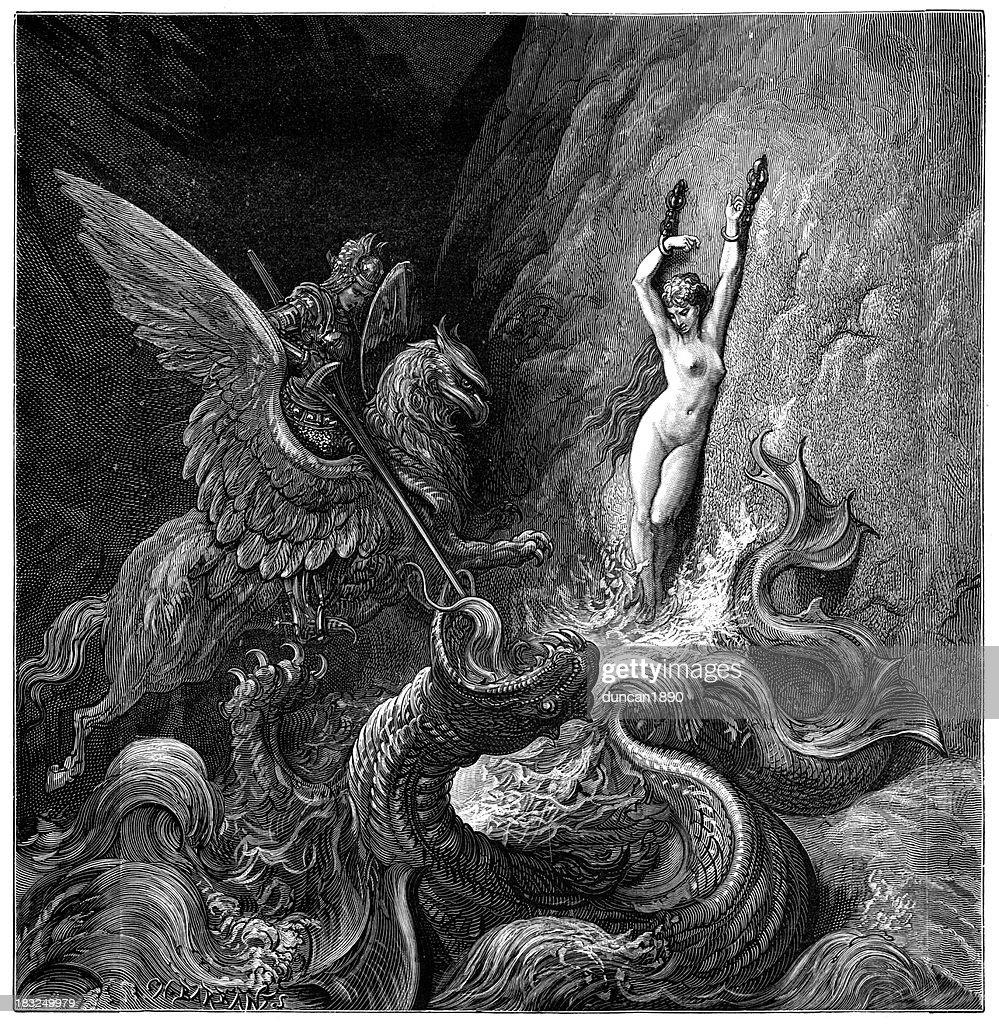 Damsel in distress : stock illustration