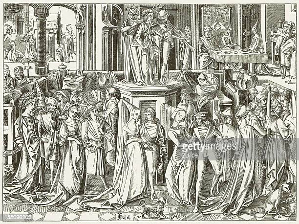 dance at the court of herod (c.1500), publihed in 1880 - circa 15th century stock illustrations, clip art, cartoons, & icons
