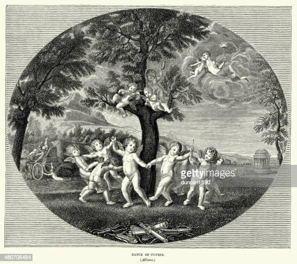dance of cupids - venus roman goddess stock illustrations, clip art, cartoons, & icons