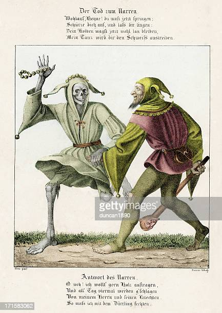 dance of death - the fool - jester's hat stock illustrations, clip art, cartoons, & icons