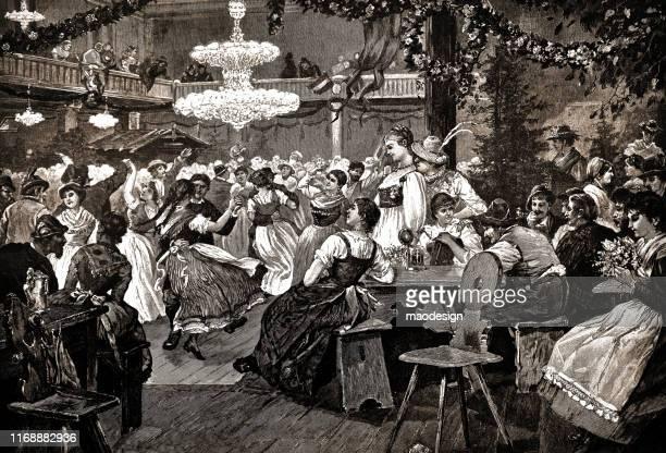 ilustrações, clipart, desenhos animados e ícones de partido da dança na vila - 1887