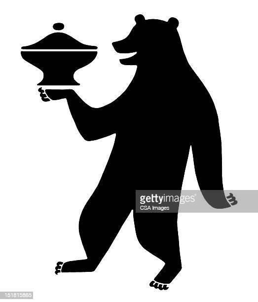 illustrations, cliparts, dessins animés et icônes de dancing bear with covered dish - dancing bear