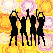 Dancing females on retro background