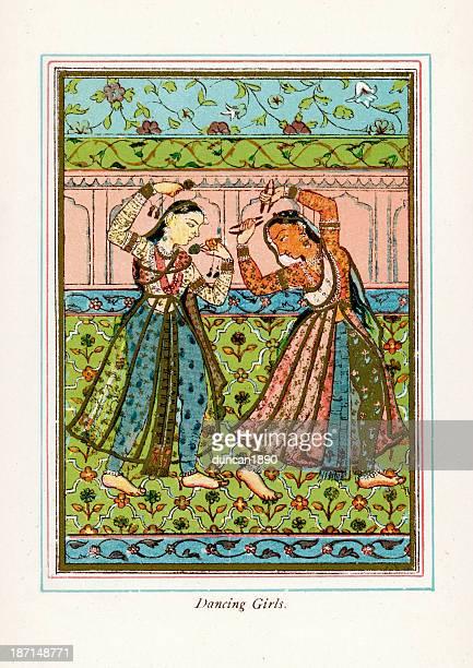 dancing girls - persian culture stock illustrations