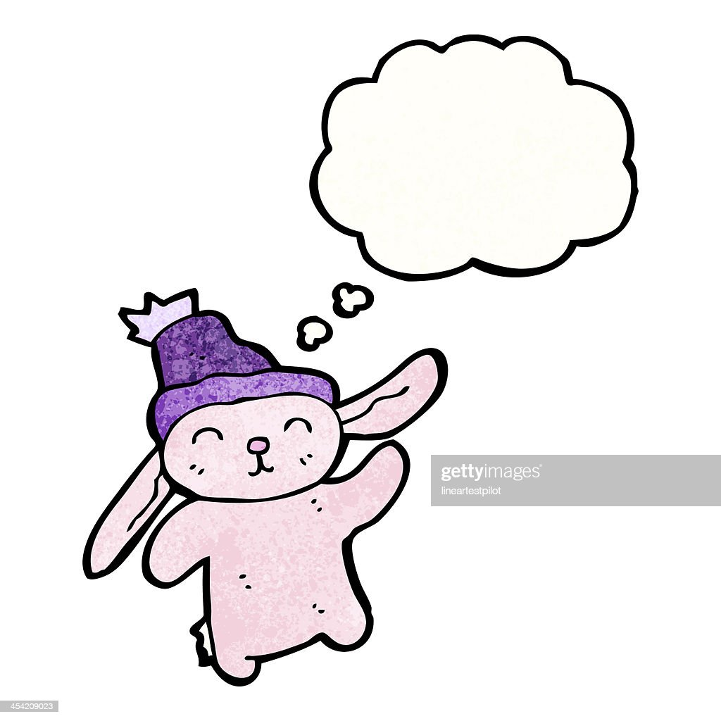 dancing pink bunny cartoon : Stock Illustration