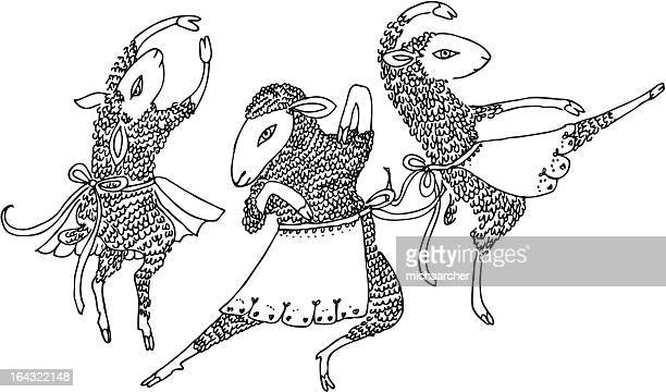 ilustraciones, imágenes clip art, dibujos animados e iconos de stock de baile de ovejas - baile moderno