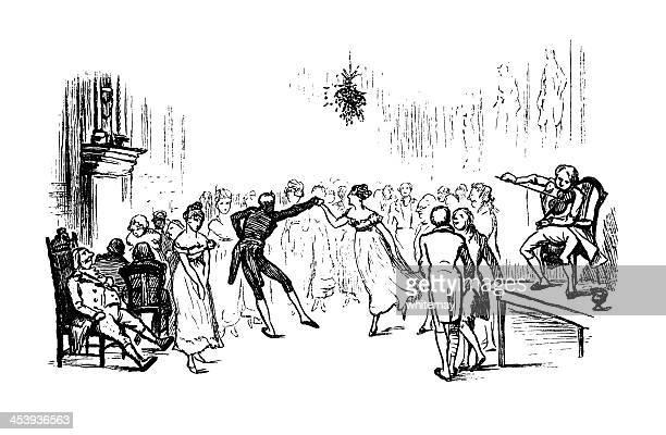 dancing under the mistletoe - mistletoe stock illustrations, clip art, cartoons, & icons