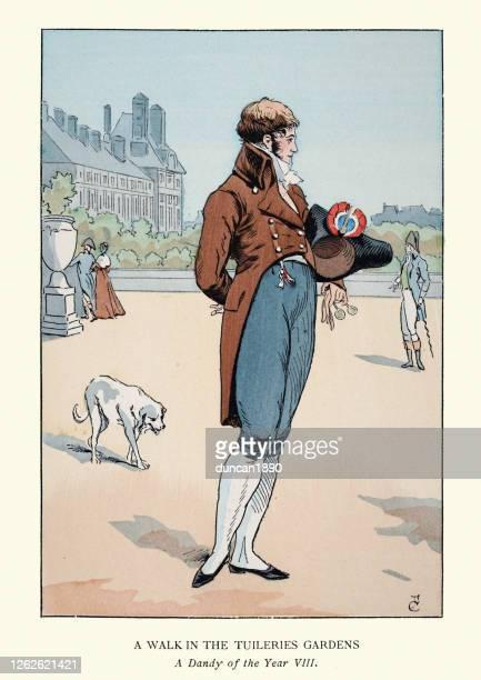 19世紀初頭、チュイルリー庭園で犬の散歩をするダンディ - 1800~1809年点のイラスト素材/クリップアート素材/マンガ素材/アイコン素材