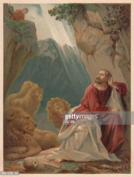 ilustrações, clipart, desenhos animados e ícones de daniel no den dos leões, chromolithograph, publicado em 1886 - bíblia
