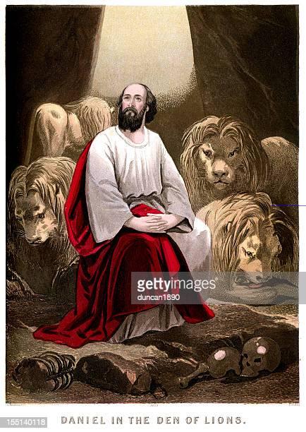 daniel in the lions den - old testament stock illustrations