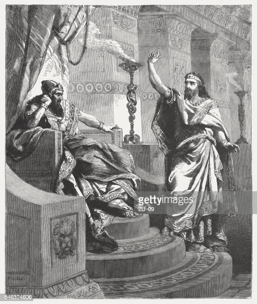 daniel interprets nebuchadnezzar's dream (daniel 4), wood engraving, published 1886 - ancient babylon stock illustrations