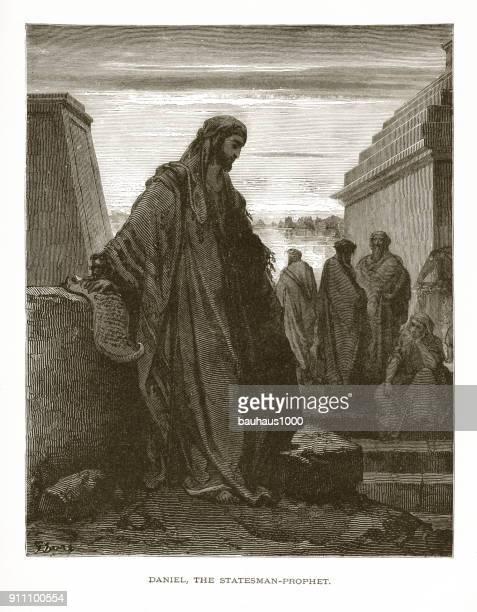 ilustraciones, imágenes clip art, dibujos animados e iconos de stock de daniel el profeta y statesman bíblica grabado - personas leyendo la biblia