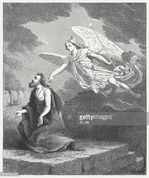 daniel's prayer and the angel gabriel (daniel 9, 21) - ancient babylon stock illustrations