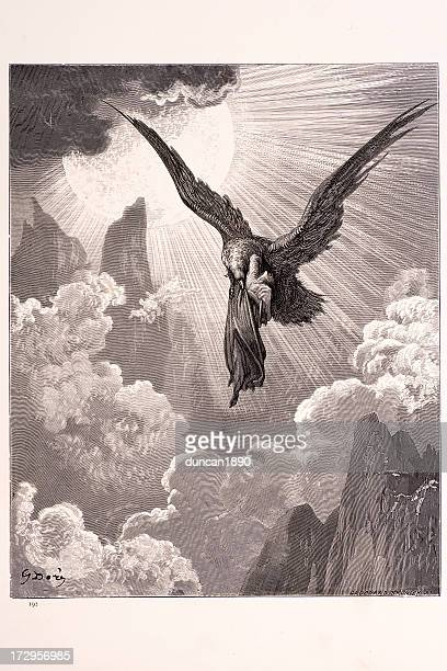 dante and the eagle - gustave dore stock illustrations, clip art, cartoons, & icons