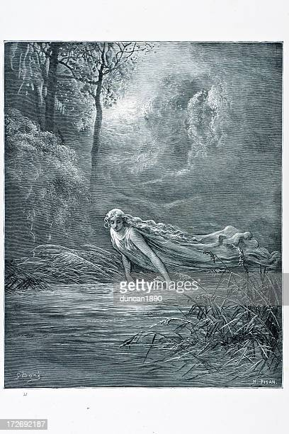 dante and the river of lethe - mythological character stock illustrations, clip art, cartoons, & icons